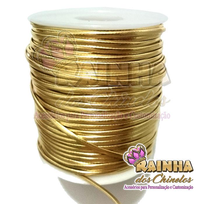 f69b8b56b57 Fio de Couro (Courinho) Dourado 2mm