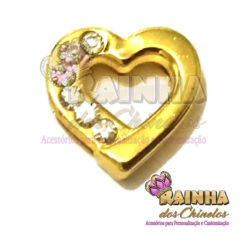 Passante Coração Dourado com Strass Cristal