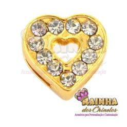 Passante Coração Dourado com Strass Cristal Inteiro