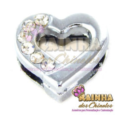 Passante Coração Prata com Strass Cristal