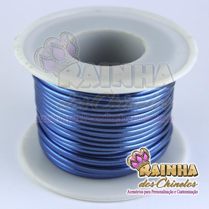65eca2e5a75 Fio de Couro (Courinho) Azul 1mm (Rolo com 25 metros)
