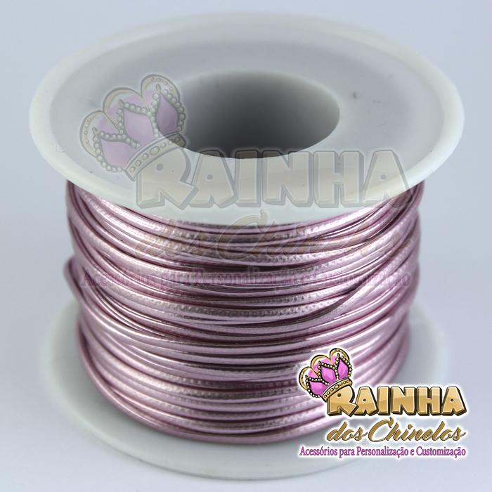 7b1bd79db0a Fio de Couro (Courinho) Rosa 1mm (Rolo com 25 metros)