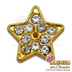 Passante Estrela Dourada com 10 Strass Cristal