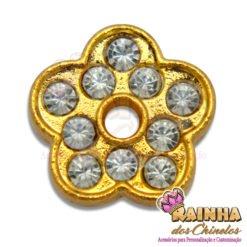 Passante Flor Dourada com 10 Strass Cristal