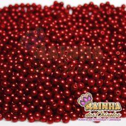 Pérolas ABS Vermelho Cereja Com Furo 5mm