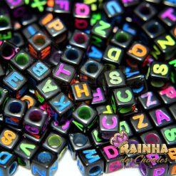 Letrinhas Passantes Cubo Preta 6mm