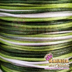 Cordão de Cetim, Fio de Seda, Rabo de Rato Mesclado Verdes e Branco 1mm 2
