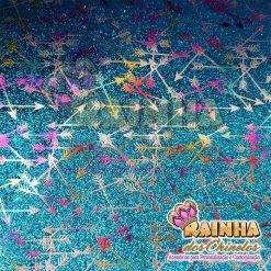 Lonita Glitter Fino Flechas Coloridas Fundo Azul Claro
