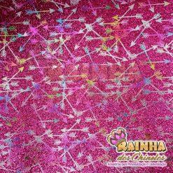 Lonita Glitter Fino Flechas Coloridas Fundo Rosa Pink